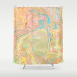 Summer Sherbet Marble Shower Curtain