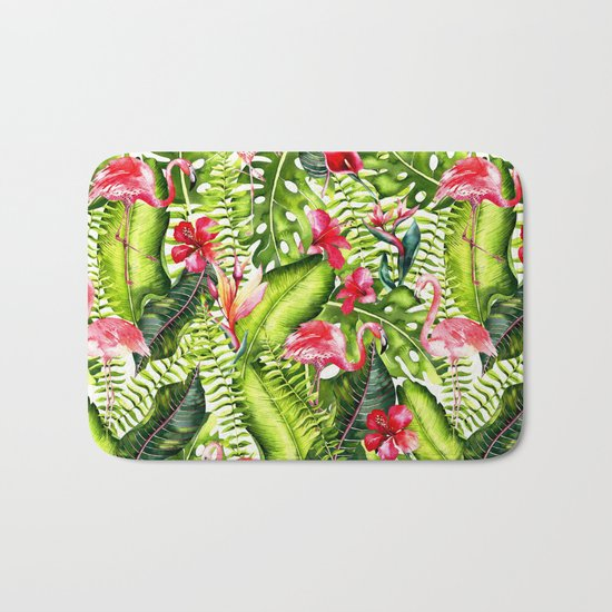 Aloha- Tropical Flamingo Bird and Hibiscus Palm Leaves Garden by #UtART Bath Mat