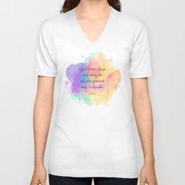 Psalm 46:1, God is our Refuge, Scripture Quote Unisex V-Neck