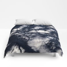Navy Blue Pine Tree Shadows on Cement Comforters