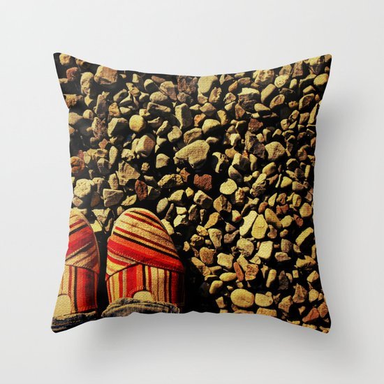 Shoes on the Rocks Throw Pillow