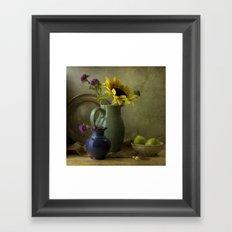 Sunflowers and blue vase Framed Art Print
