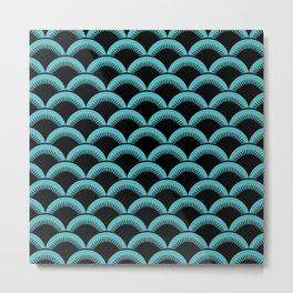 Japanese Fan Pattern 143 Black and Turquoise Metal Print