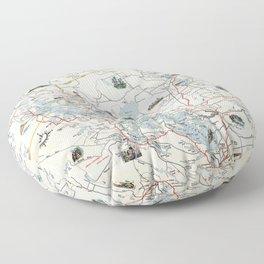 Muskoka Lakes Tourist Map 1949 Floor Pillow