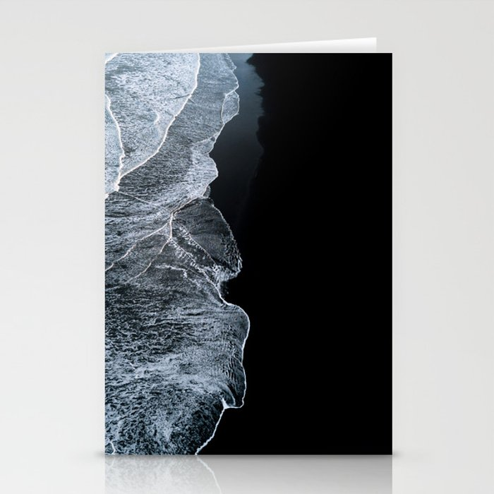 Waves on a black sand beach in iceland - minimalist Landscape Photography Stationery Cards