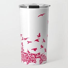 The birds / Red on white Travel Mug