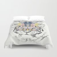 allyson johnson Duvet Covers featuring Hidden Tiger by Luca Johnson by Lucinda Saunders Design