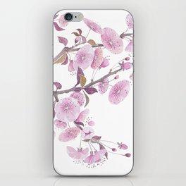 Cherry blossoms, sakura flower decor watercolor painting pink iPhone Skin