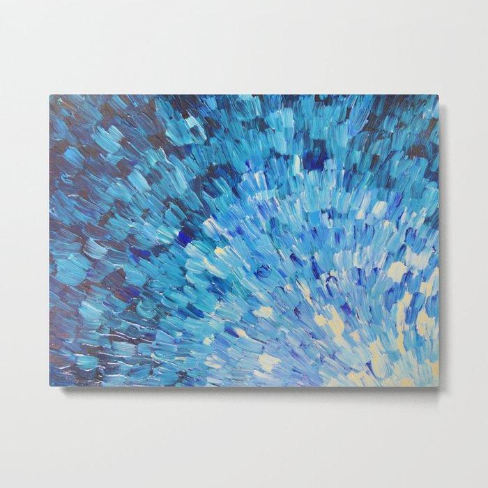 SEA SCALES IN INDIGO - Stunning Ocean Waves Mermaid Fish Navy Royal Blue Marine Abstract Painting Metal Print