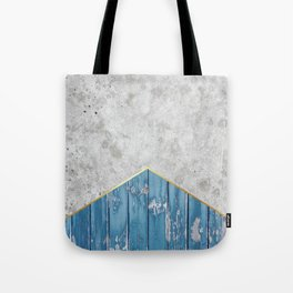 Concrete Arrow Blue Wood #347 Tote Bag