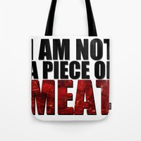 meat Tote Bags featuring MEAT by Nathan