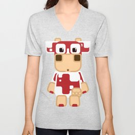 Super cute cartoon cow in red - a moo-st have design for  cow enthusiasts! Unisex V-Neck