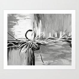 Abstract modern, black white Art Print