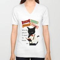 study V-neck T-shirts featuring Study by BATKEI