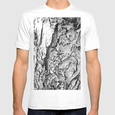 Tree Bark Black and White MEDIUM White Mens Fitted Tee