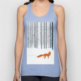 Fox in the white snow winter forest illustration Unisex Tank Top