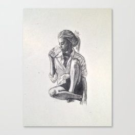 Woman Drinking Something Canvas Print