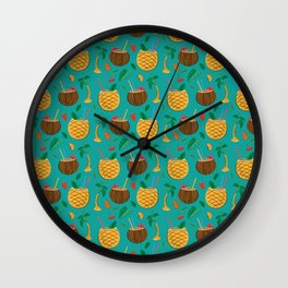 Coconut and Pineapple Tropical Pattern Wall Clock