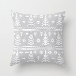 Stitched Evergreens in Grey Throw Pillow