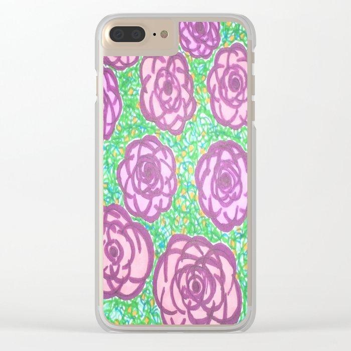Preppy Rose Garden Clear iPhone Case