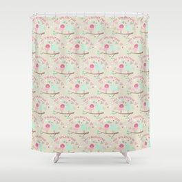 Pink teal gren love birds my valentine romantic floral Shower Curtain