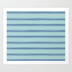 Cobalt blue french striped Art Print