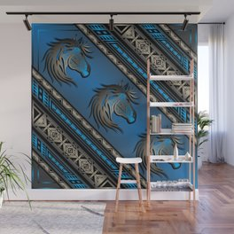 Horse Nation (Blue) Wall Mural
