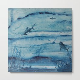 Sharks in deep blue Metal Print