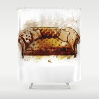 sofa Shower Curtains featuring Man Cave Tufted Vintage Leather Sofa by SugarshotStudio