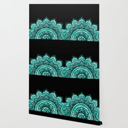 Black teal mandala Wallpaper