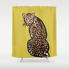 Jungle Cat | Green Yellow Shower Curtain