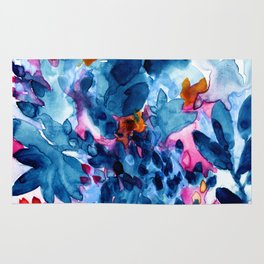 Flower garden watercolor Rug