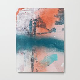 Poetry [1]: a vibrant abstract mixed-media painting in teal and pink by Alyssa Hamilton Art Metal Print