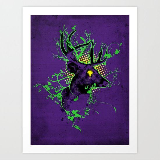 Trippy Ghost Deer Art Print