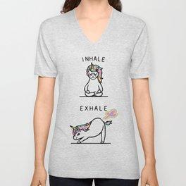 Inhale Exhale Unicorn Unisex V-Neck