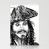 jack sparrow Stationery Cards featuring Jack Sparrow by Brittney Patterson