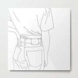 Fashion illustration line drawing - Cait Metal Print