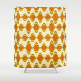 Retro Psychedelic Wavy Pattern in Orange, Yellow, Olive Shower Curtain