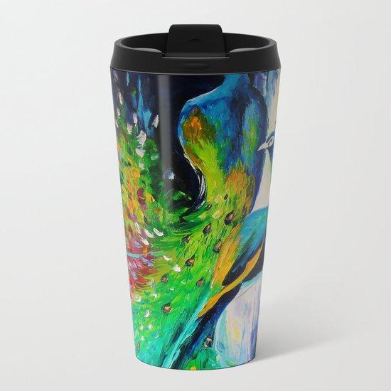 Peacocks Metal Travel Mug