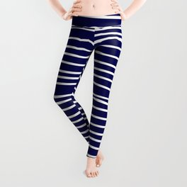 Navy Blue & White Maritime Hand Drawn Stripes- Mix & Match with Simplicity of Life Leggings