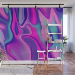 Liquid Bold Vibrant Colorful Abstract Paint in Blue, Pink and Purple Wall Mural