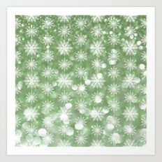 Holiday Mint and Flurries Art Print