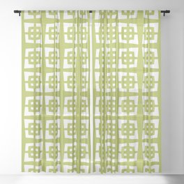 Mid Century Modern Pattern 271 Chartreuse Sheer Curtain