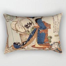 The Strong Oi Pouring Sake by Katsushika Hokusai Rectangular Pillow