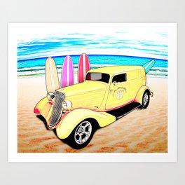 Surf Shop Sedan Delivery on Padre Island Art Print