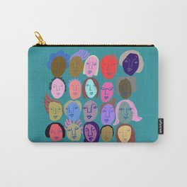 Faces in teal Carry-All Pouch