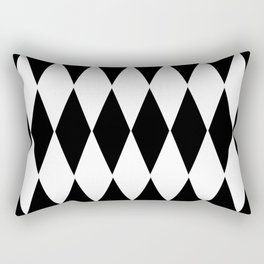 LARGE  WHITE AND BLACK   HARLEQUIN DIAMOND PATTERN Rectangular Pillow