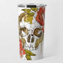 Geometric Skull & Roses Travel Mug