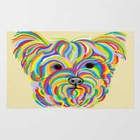 yorkie Area & Throw Rugs featuring Yorkshire Terrier - YORKIE! by EloiseArt