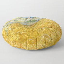 "Vincent van Gogh ""Wheat Field behind Saint Paul Hospital with a Reaper"" Floor Pillow"
